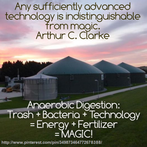 Image shows an AD Plant and says that anaerobic digestion is magic!